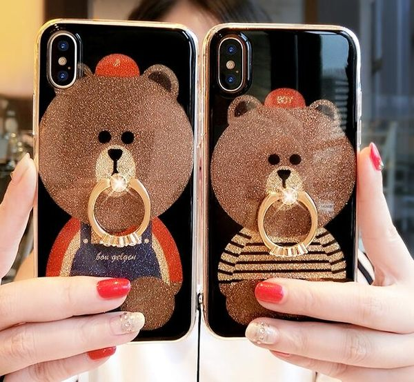 【SZ14】iPhoneX手機殼 閃粉布朗熊指環 可拆卸掛繩 軟邊硬底殼 iPhone6/7/8plus手機殼