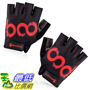 [106美國直購] 手套 BOODUN Cycling Gloves with Shock-absorbing Foam Pad Black with Red Logo