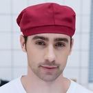 廚師帽 工作帽布帽貝雷帽定制帽女服務員酒店餐廳透氣