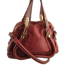 【奢華時尚】Chloe 棗紅色小型手提肩背兩用Paraty包(八五成新)#25099