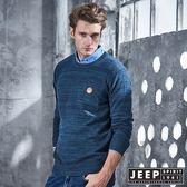 【JEEP】質感圓領漸層刷毛長袖針織衫 (藍綠)