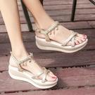 波西米亞涼鞋海邊女度假旅游羅馬厚底坡跟夏季2019新款百搭沙灘鞋