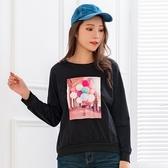 棉T--休閒可愛氣球與女孩印花落肩寬鬆百搭舒適圓領長袖T恤(黑.粉L-3L)-F150眼圈熊中大尺碼◎