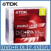 TDK DVD+R DL 2.4X 單片裝 五入 DVD 光碟