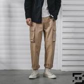 工裝褲男休閒褲寬鬆直筒韓版多口袋哈倫褲潮流【左岸男裝】