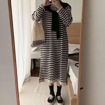 圓領洋裝針織裙內搭韓國東大門簡約時髦黑白配長袖羊毛休閒寬鬆長T連身裙MB064-1551.胖丫