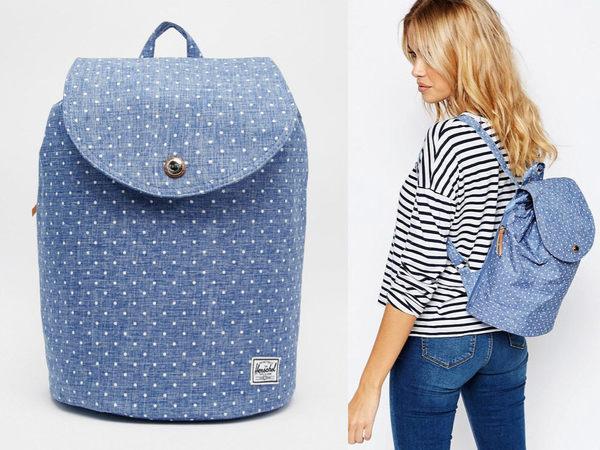 Hsin 83折 現貨 Herschel Reid Women 中小型 水藍 白點 帆布 束口 磁扣 女生 後背包