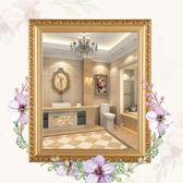 化妝鏡 歐式實木黏貼浴室鏡子化妝鏡梳妝洗手間廁所衛生間鏡子貼牆壁帶框