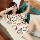 夏季睡衣女式純棉 短袖正韓可愛卡通甜美薄款套裝 家居服女士休閒 全館八八折鉅惠促銷