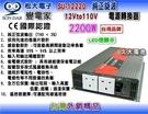 【久大電池】 變電家 SU-12220 純正弦波電源轉換器 12V轉110V 2200W