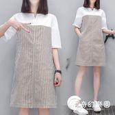 孕婦裝-夏裝韓版新款時尚上衣中長款短袖條紋寬松大碼連身裙-奇幻樂園