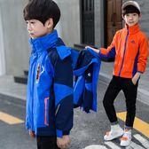 男童外套2018秋冬裝新款兒童沖鋒衣加絨加厚三合一可拆卸中大童潮