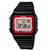 【僾瑪精品】CASIO- 方形液晶電子腕錶-黑紅/43mm/W-215H-1A2
