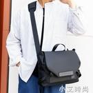 男士防水單肩斜挎包手提包時尚純色簡約商務休閒男包中號多口袋【小艾新品】