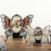 蝴蝶金屬相框創意擺臺 閨蜜結婚生日禮物 婚紗照相框組合臺面擺設 熊貓本