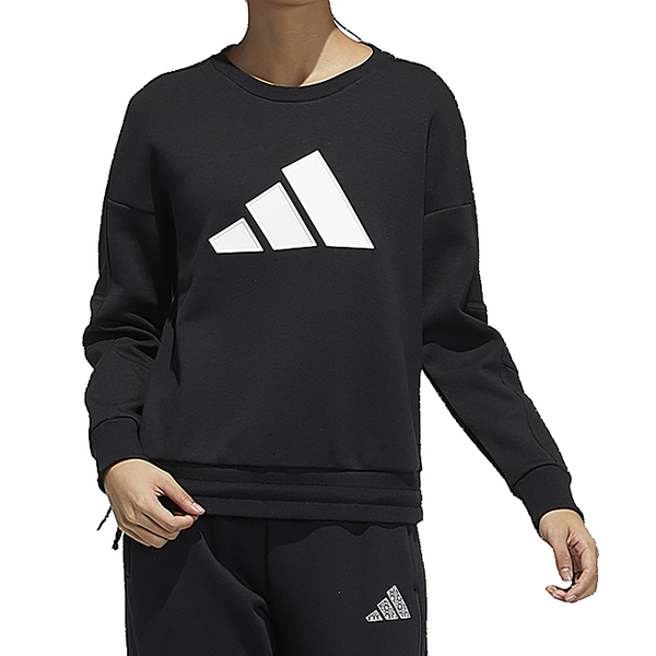 Adidas STR SWEAT 女款長袖大學T 休閒胸前LOGO 可調式下擺 黑 GP0718