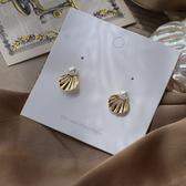 耳環 82022#法式珍珠小巧百搭貝殼耳釘氣質少女耳環 浪漫人魚貝殼耳釘D507快時尚
