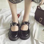 日系學院風可愛圓頭娃娃鞋愛心原宿風軟妹chic小皮鞋淺口單鞋  極有家