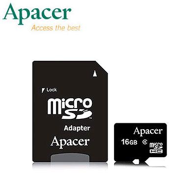 【宇瞻Apacer】16GB 記憶卡 MicroSDHC Class4 附轉卡
