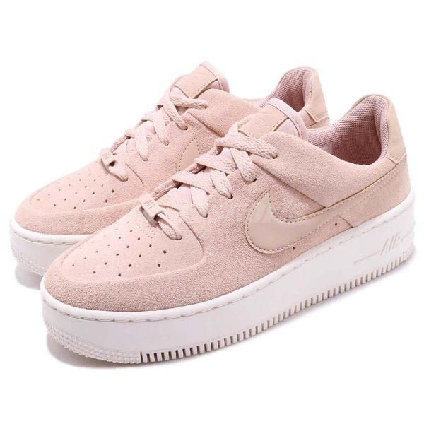 Nike 休閒鞋 Wmns Air Force 1 Sage Low 粉紅 米白 麂皮鞋面 厚底 女鞋 運動鞋【PUMP306】 AR5339-201