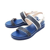 【南紡購物中心】WALKING ZONE(女) 雕花厚底彈力涼鞋 女鞋 -藍(另有白)