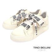 Tino Bellini 清新純色馬卡龍寬版綁帶厚底休閒鞋 _ 米白 B83256