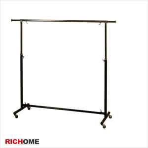 【RICHOME】亞伯商用單桿衣架黑色+銀色