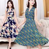 夏天時尚中年媽媽長款V領大擺裙修身型顯瘦中老年碎花連身裙女 東京衣秀