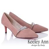 ★2018秋冬★Keeley Ann高貴典雅~唯美水鑽腳背帶全真皮中跟鞋(粉紅色) -Ann系列