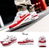 Nike Air Max 90/1 紅 白 灰 經典OG配色 氣墊 合體鞋款 男鞋 女鞋 復古慢跑鞋 運動鞋【PUMP306】 AJ7695-100