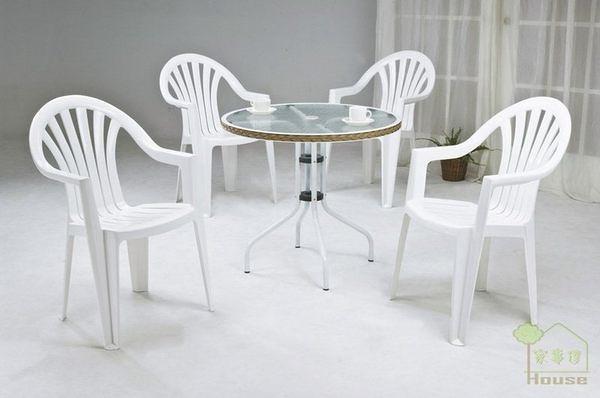 [家事達] 台灣OA-523-3/4 休閒玻璃圓桌塑鋼椅組 餐桌椅組