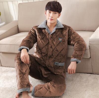 熊孩子ஐ冬季中年男士珊瑚絨夾棉加厚睡衣中老年加絨超厚法蘭絨家居服套裝 (5688-2#)
