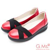 G.Ms. 牛皮交叉鬆緊帶厚底坡跟鞋*紅色
