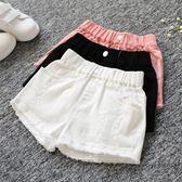 女童夏季牛仔短褲正韓破洞中大童兒童白色外穿百搭寬鬆熱褲子三角衣櫥刷破褲 刷破牛仔褲