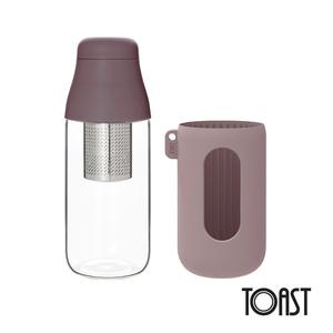 TOAST SCENE 隨身玻璃濾茶瓶 500ml-藕紫色(附隔熱套)