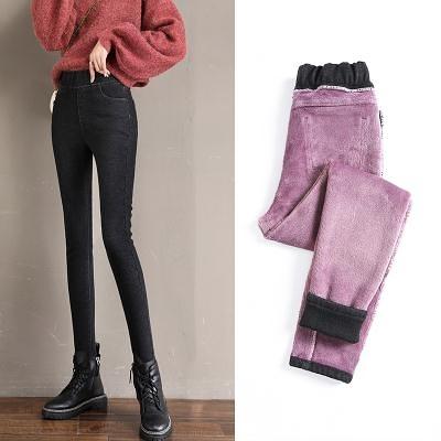 冬季加絨加厚牛仔褲女小腳褲松緊高腰彈力緊身保暖鉛筆褲子女T328 韓依紡
