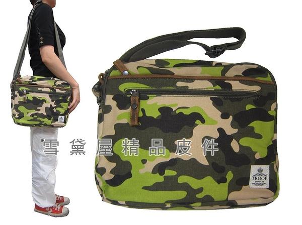 ~雪黛屋~troop 肩側包超中容量主袋+外袋共五層經典100%純棉加強防水帆布+牛皮革肩STRP0404