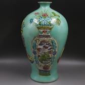 清乾隆浮雕刻粉彩博古花紋福壽梅瓶仿古老貨包老瓷器古玩擺件收藏1入
