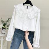 白襯衫女2019春季新款韓版長袖寬鬆蕾絲娃娃領棉麻襯衣娃娃衫上衣洛麗的雜貨鋪