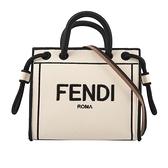 【FENDI】加州天空系列 Logo刺繡手提/斜背二用帆布包(Mini)(米白色) 8BH380 AEI1 F0WNA
