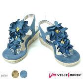 真皮花鞋飾  VelleMoven 真皮涼鞋 ★歐洲進口款★ 小低跟 鞋扣式 夾腳人字 涼鞋  海軍藍