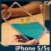 iPhone 5/5s/SE 動漫千陽號手機殼 PC硬殼 半透液態流動 黃色小鴨 保護套 手機套 背殼 外殼