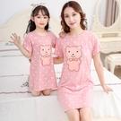 女童純棉睡裙親子寶寶薄款夏季裙子女孩母女連身裙兒童短袖睡衣裙 童趣屋 免運