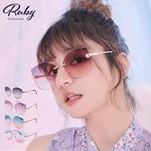 墨鏡 水滴水鑽撞色無框鏡面墨鏡-Ruby s 露比午茶