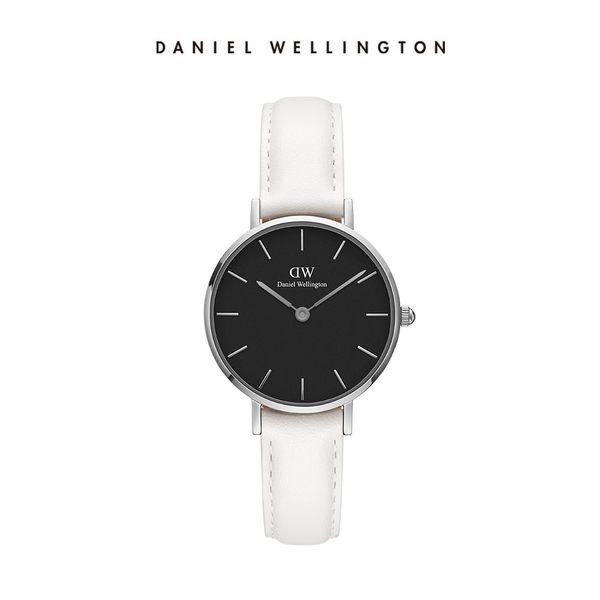 DW 手錶 官方旗艦店 28mm銀框 Classic Petite 純真白真皮皮革 - Daniel Wellington