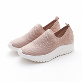 MICHELLE PARK 新華麗時尚風彈性閃亮水鑽網面透氣針織休閒鞋-粉紅色