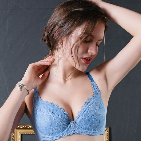 EASY SHOP-柔情蔓戀 大罩杯B-E罩內衣(柔情藍)