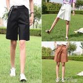 棉麻五分褲 韓版寬鬆學生百搭五分褲顯瘦高腰寬管運動褲 coco衣巷