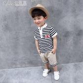 男童兒童條紋短袖休閒套裝3-5-7歲寶寶T恤短褲童裝「Chic七色堇」