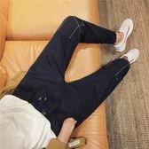 牛仔褲男士修身小腳褲子男韓版春季黑色九分褲束腳潮男寬鬆哈倫褲   圖拉斯3C百貨